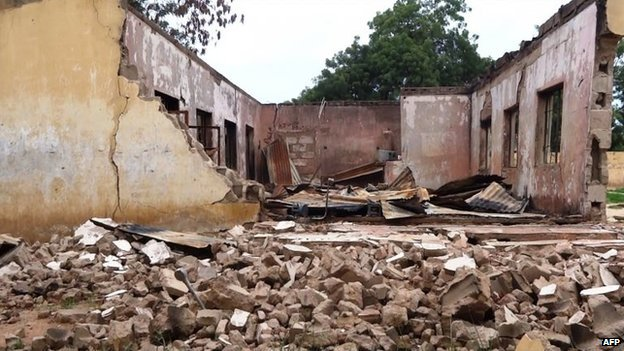 Remains of a student hostel blown up in Nigeria's Yobe state (August 2013)