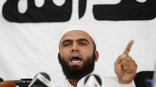 Saif Eddine Errais , spokesman of radical Islam Salafist group Ansar al-Sharia speaks during a press conference, Thursday, May 16, 2013
