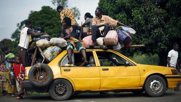 People on car
