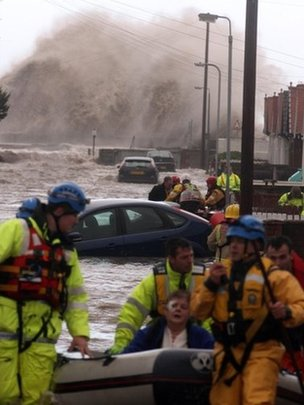 Pensioner being rescued in Rhyl