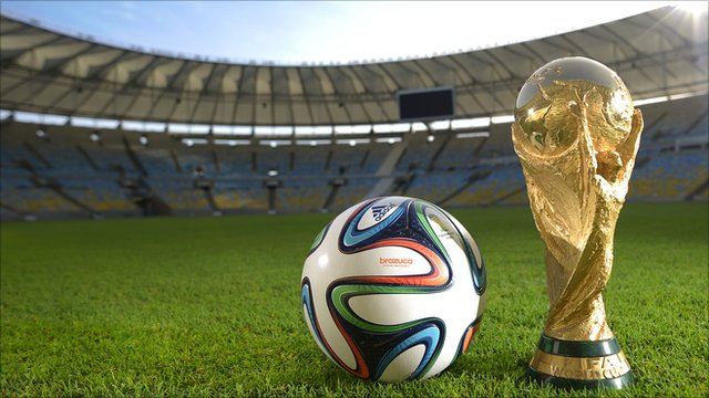 The Brazuca 2014 World Cup ball and the FIFA World Cup Trophy