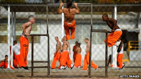 Inmates exercising