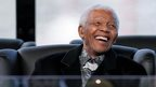 Nelson Mandela reacts during the inauguration of President Jacob Zuma