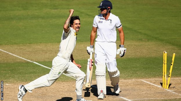 Mitchell Johnson bowls Alastair Cook