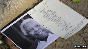 tribute outside South African embassy in Beijing