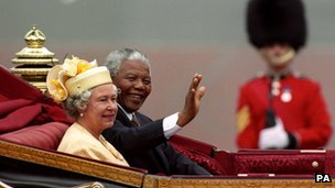 The Queen with Nelson Mandela in 1996
