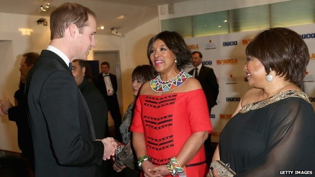 Prince William with Mandela's daughters Zenani and Zindzi