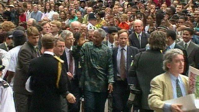 Nelson Mandela visiting Brixton in 1996