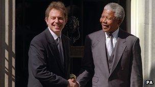 Tony Blair with Nelson Mandela