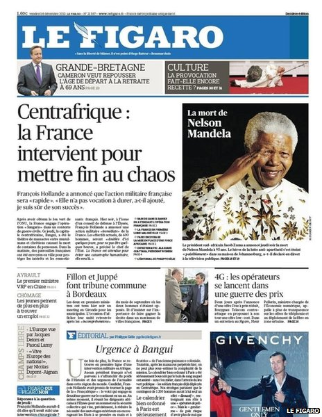 Front page of France's Le Figaro, 6 December