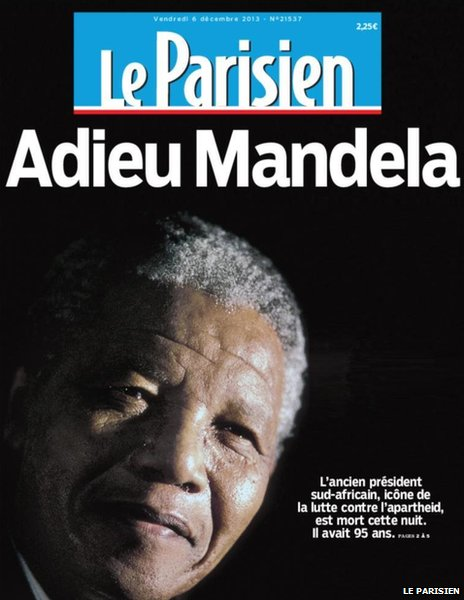 Front page of France's Le Parisien, 6 December