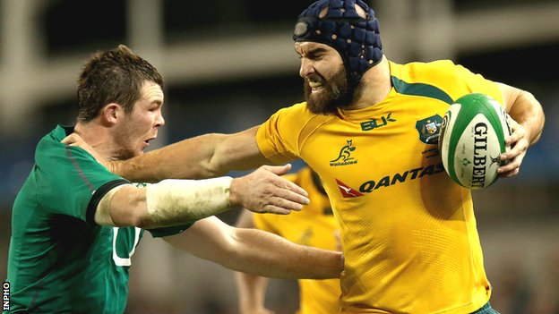 Ireland's Peter O'Mahony is held off by Scott Fardy of Australia in last month's game