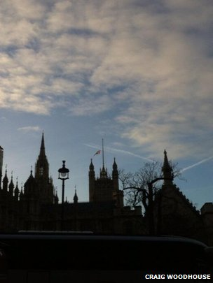 Union flag over Westminster