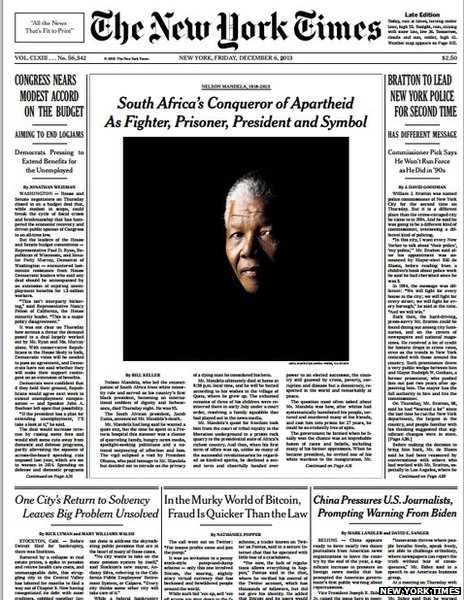 Front Pagenew York Times Design Of: Nelson Mandela Death: World Front Pages