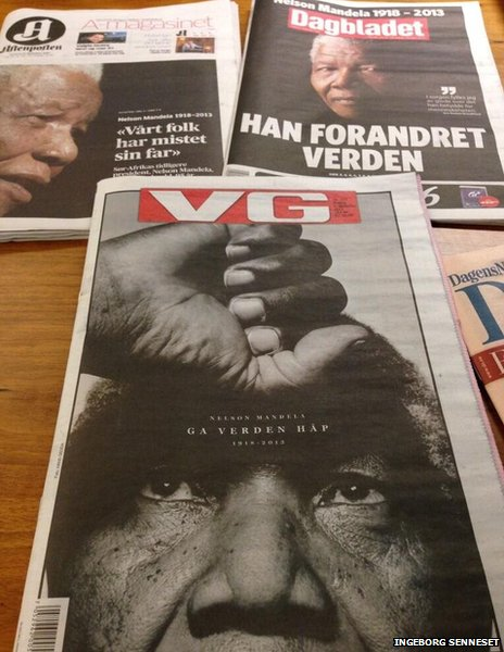 Norwegian newspaper front pages, 6 December