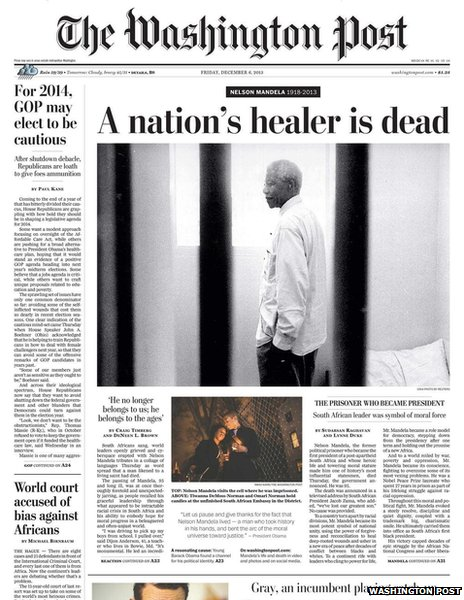 Washington Post front page, 6 December