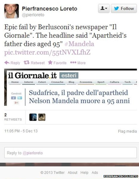 Headline in Il Giornale, tweeted by Pierfranceso Loreto