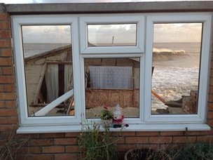 Tidal surge damage in Hemsby