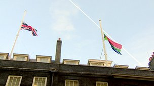 flags above downing street