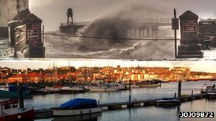 Whitby Harbour during and after storm