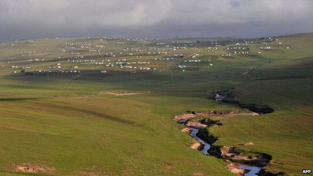 The village of Qunu where former South African President Nelson Mandela grew up pictured in 2011