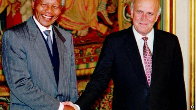 Nelson Mandela and FW de Klerk who jointly won the Nobel Peace Prize in 1993