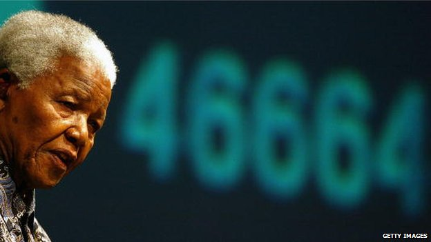 Former South African President Nelson Mandela speaks during the launch in 2003 of 46664 his former prison number which he used to raise awareness of the impact of HIV and Aids