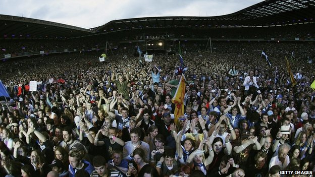 A general view of the Live 8 Edinburgh concert at Murrayfield Stadium on 6 July 2005 in Edinburgh, Scotland