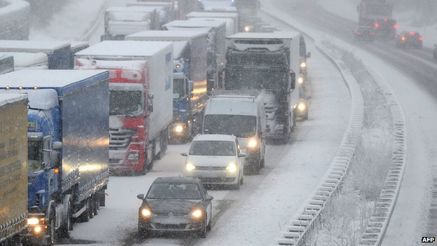 Traffic jam in snow at Olpe, Germany, 6 Dec 13