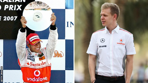 Lewis Hamilton celebrating during his debut season at McLaren and Kevin Magnussen in McLaren shirt