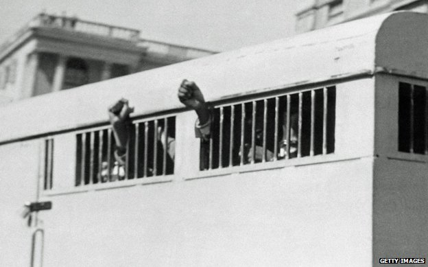 A prison van carrying Mandela and other ANC activists to trial in 1962