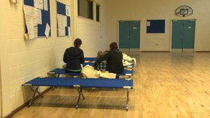 Belfast City Council provided camp beds for residents who had to leave their homes
