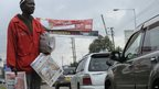 Newspaper seller in the Kenyan capital Nairobi