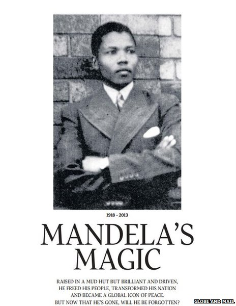 Front page of Globe and Mail's special Mandela e-book