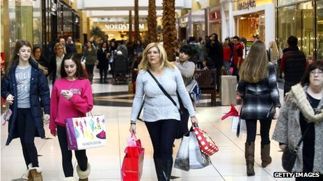 Shoppers in a mall in the US
