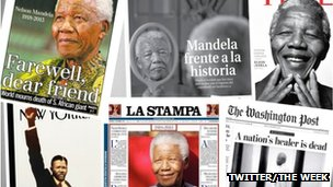 Front pages of international newspapers and magazines