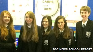 Rachel, Stephanie, Ceren, Jessica and David from Marden High School