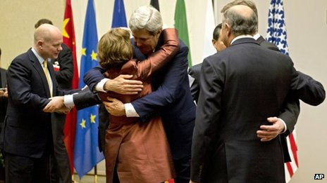 Catherine Ashton and John Kerry in Iran
