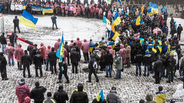 Ukraine pro-EU protesters in Kiev, 6 Dec 13