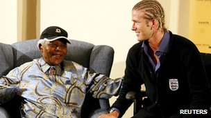 Nelson Mandela and David Beckham