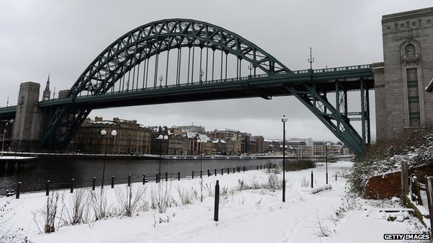 Newcastle, snow in January