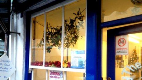 Mistletoe in chip shop