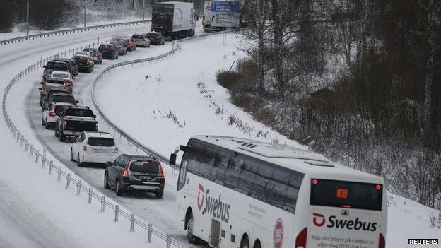 Traffic jam near Ulricehamn, Sweden, 6 Dec 13