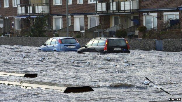 Flooded street in Helsingborg, southern Sweden, 6 Dec 13