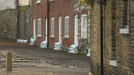 Sandbags in Sandwich after the flooding
