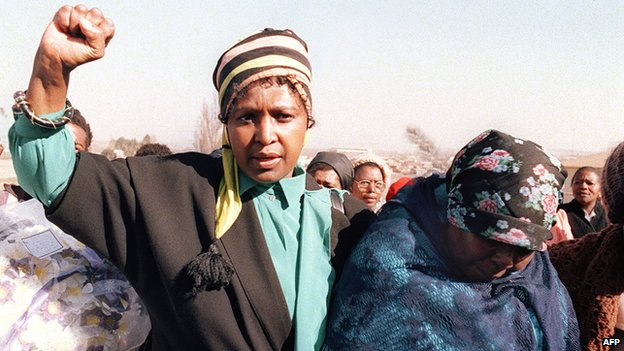 Winnie Mandela at a funeral of an Umkhonto we Sizwe fighter in Soweto in 1987