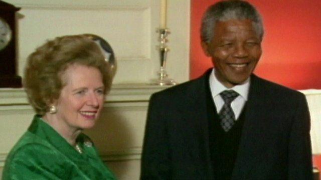 Margaret Thatcher and Nelson Mandela
