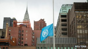 UN flag flies at half mast in New York