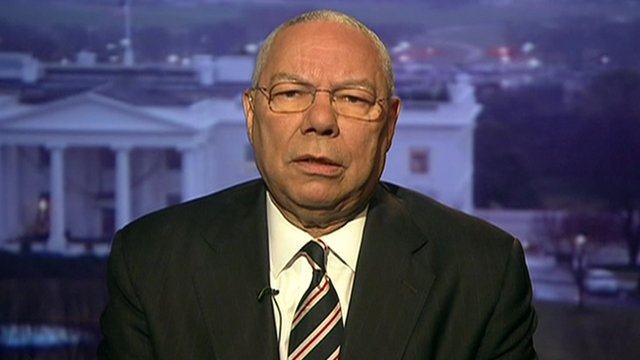 Colin Powell speaks to the BBC