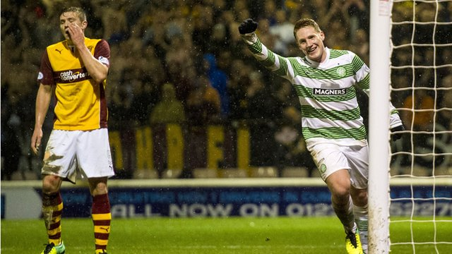 Kris Commons scores for Celtic against Motherwell